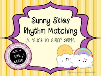 Sunny Skies Rhythm Matching--A stick to staff notation game {ta titi}