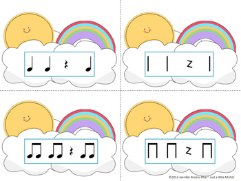Sunny Skies Rhythm Matching--A stick to staff notation game {ta titi rest}