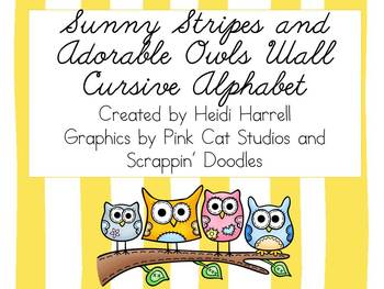 Sunny Stripes and Adorable Owls CURSIVE ALPHABET