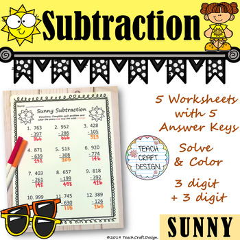 Sunny Subtraction Solve and Color Worksheets