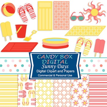 Sunny Summer Clip Art and Digital Papers Combo Pack