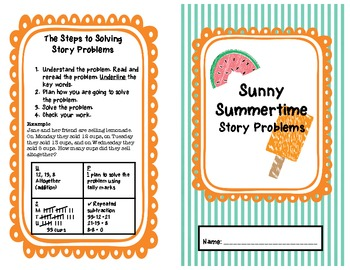 Sunny Summertime Math Story Problems Mini-Book