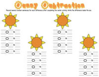 Sunny Sums & Differences! {math centers for addition & subtraction}