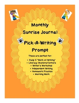 Sunrise Journal PAW (Pick a Writing Prompt) Full Year Packet