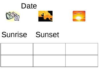 Sunrise Sunset tracking sheet