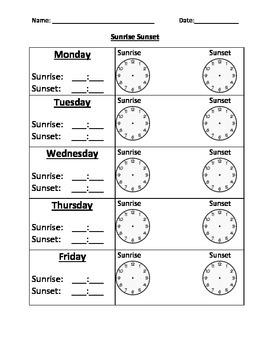 Sunrise and Sunset Time Sheet