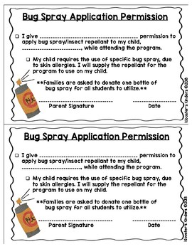 Sunscreen / Bug Spray / Insect Repellant Application Permission Slip