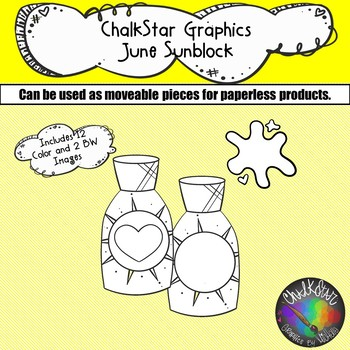 Sunscreen June Clip Art –Chalkstar Graphics