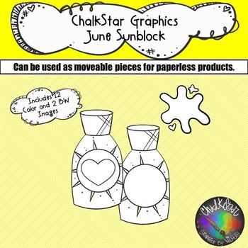 Sunscreen June Clip Art –Chalkstar Graphics