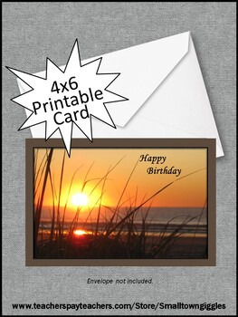 image about Gift Not Included Printable referred to as Sunset Birthday Card Printable, Electronic Down load, Trainer or Major Reward