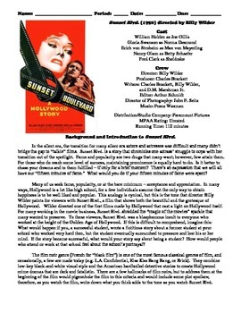 Sunset Boulevard Film (1950) Study Guide Movie Packet