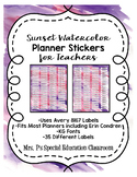 Sunset Watercolor Teacher Planner Labels