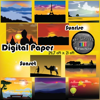 Sunset and Sunrise Digital Paper and Backgrounds