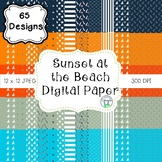 Sunset at the Beach Digital Paper (navy, aqua, orange, tangerine, and grey)