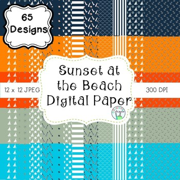 Sunset at the Beach Digital Paper (navy, aqua, orange, tan