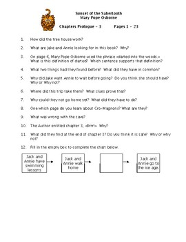 Sunset of the Sabertooth Magic Tree House #7 Comprehension Questions & Test