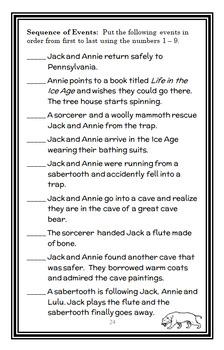 Sunset of the Sabertooth : Magic Tree House #7 Novel Study / Comprehension