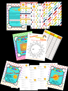 Math Fact Fluency Addition With Addends 0 to 10:  Sunshine Addition Races