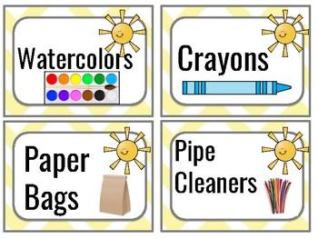 Sunshine Art and Supply Bin Labels