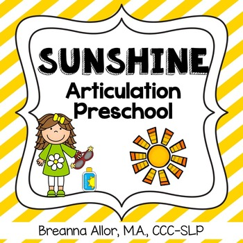 Sunshine Articulation Preschool Packet