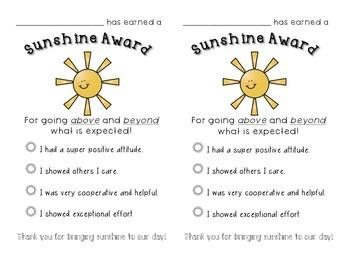 Sunshine Award for Positive Behavior