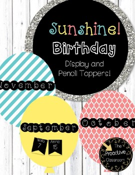 Sunshine Birthday Display and Pencil Toppers