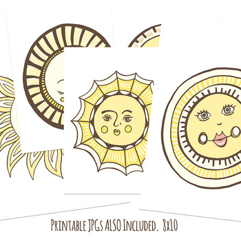 Sunshine ClipArt, Cheerful Smiling Sun, Printable Classroom Decor, Spring Summer