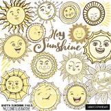 Sunshine ClipArt, Cheerful Smiling Sun, Printable Classroom Decor, Spring Summer