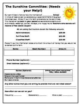 Sunshine Committee Form