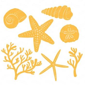Sunshine Coral & Seashells Clipart