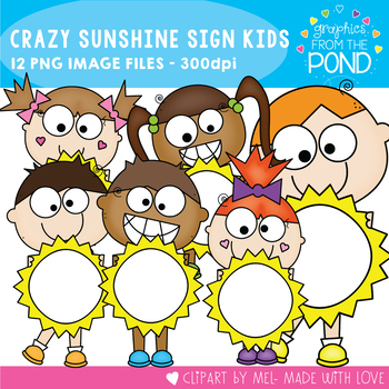 Sunshine Crazy Sign Kids Clipart