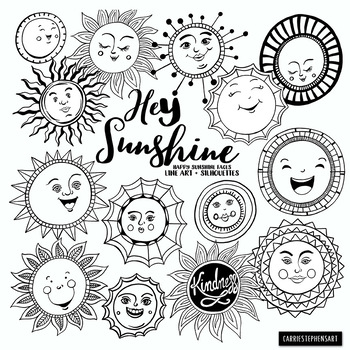 Sunshine Doodle Face Clipart Summer Sun Spring Summer By