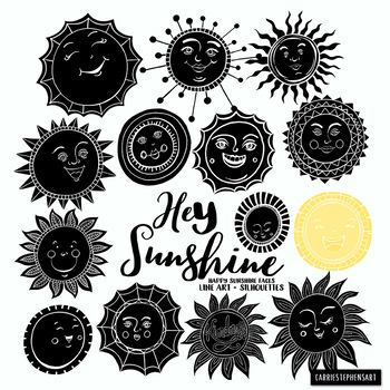 Sunshine Doodle Face Clipart, Summer Sun, Spring, Summer
