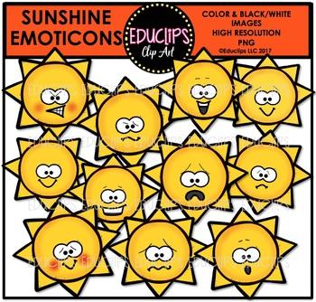 Sunshine Emoticons Clip Art Bundle {Educlips Clipart}