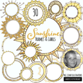 Sunshine Frames and Label Clipart, Sunshine Round Borders, Spring, Summer