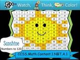 Sunshine Hundreds Chart to 120 - Watch, Think, Color! CCSS.1.NBT.A.1