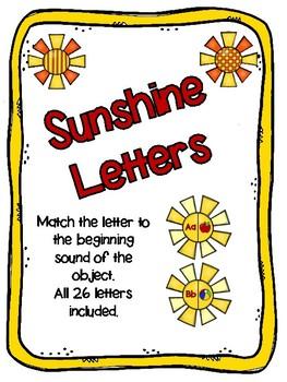Sunshine Letter and Beginning Sound Matching