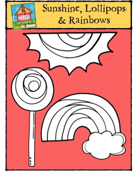 Sunshine, Lollipops and Rainbows {P4 Clips Trioriginals Digital Clip Art}