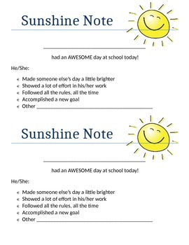 Sunshine Note