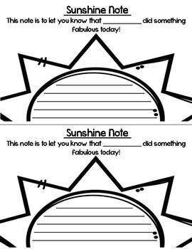 Sunshine Notes FREEBIE!!