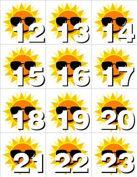 Sunshine - Numbers 0-31 Pocket Chart Cards - CALENDAR