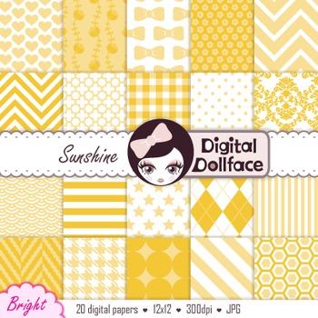 Sunshine Orange Yellow Digital Paper; Scrapbook Backgrounds