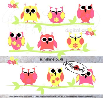 Sunshine Owls Digital Paper and Clipart Set by Poppydreamz