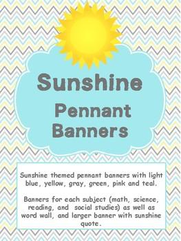 Sunshine Themed Classroom Decor - Pennant Banners