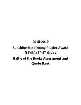 Sunshine State Battle of the Books 2018-2019  SSYRA 3-5 Test and Quote Bank