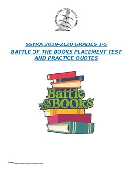 SSYRA 2019-2020 3-5 Test and Quote Bank Sunshine State Battle of the Books