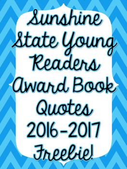Sunshine State Book (SSYRA) Quotes Posters - FREEBIE