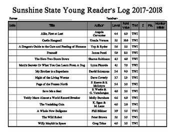 Sunshine State Young Reader's Log 2017-2018