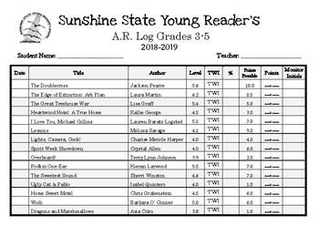 Sunshine State Young Reader's Log 2018-2019