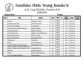 Sunshine State Young Reader's Log 2018-2019 6-8